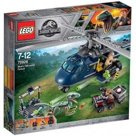 Lego Jurassic Word Persecución en helicóptero de Blue