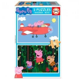 Puzzle 16x2 Peppa Pig Madera