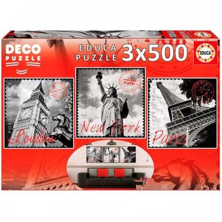 Puzzle 500x3 Grandes Ciudades