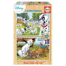 Puzzle 25x2 Disney Animals Madera