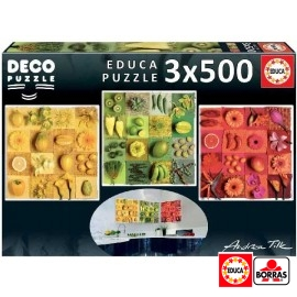 Puzzle 500x3 Exotic Fruits Flowers