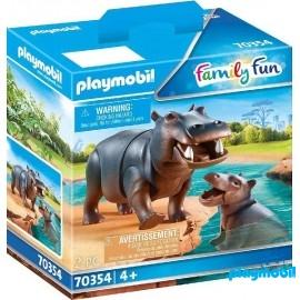 Hipopotamo con Bebe