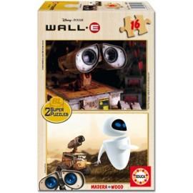 Puzzle 2x16 Wall-E Madera